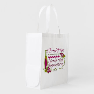 I Drink Wine Funny Quote Market Totes