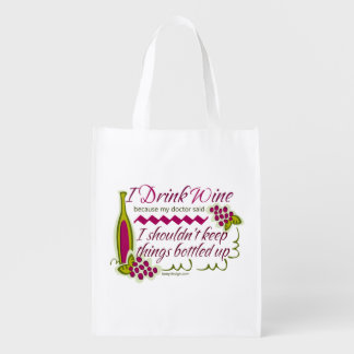 I Drink Wine Funny Quote Market Tote