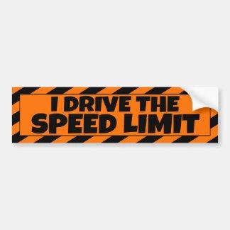 I Drive the Speed Limit orange black bumpersticker Bumper Sticker