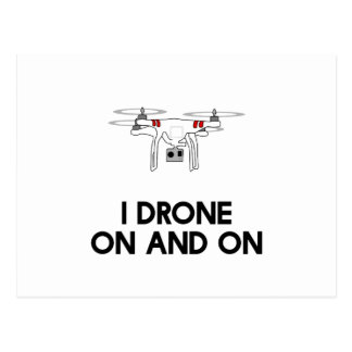 I drone on and on quadcopter postcard