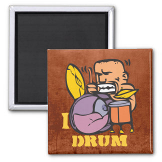 I Drum - Fun Drummer Drumming 2 Inch Square Magnet