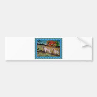 i due cani curiosi olio su tela bumper sticker