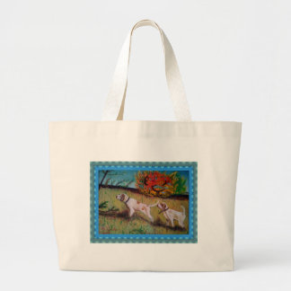 i due cani curiosi olio su tela canvas bag