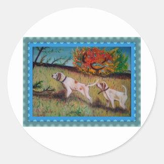 i due cani curiosi olio su tela classic round sticker