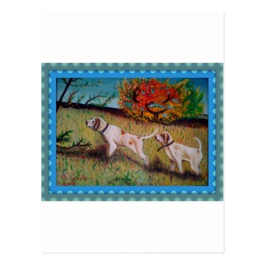 i due cani curiosi olio su tela postcard