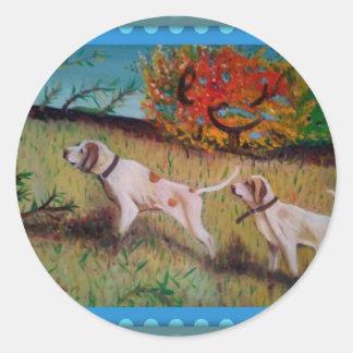 i due cani curiosi olio su tela round stickers