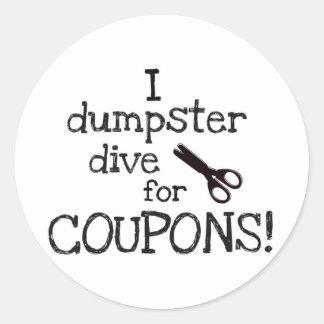 I dumpster dive classic round sticker