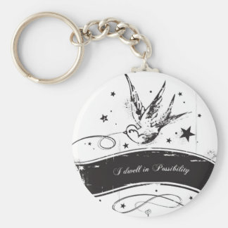 """""""I Dwell in Possibility"""" Basic Round Button Keychain"""