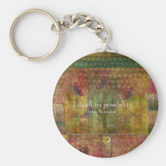 I dwell in possibility. Emily Dickinson quote Basic Round Button Keychain