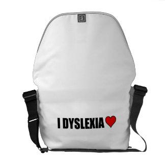 I Dyslexia Love Heart Courier Bag