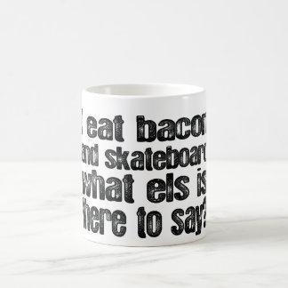 I Eat Bacon and Skateboard Classic White Coffee Mug