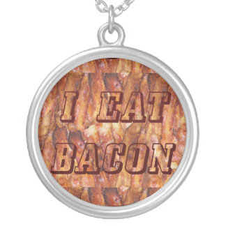 I Eat Bacon Round Necklace with Background