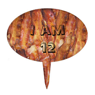 I Eat Bacon Text with Background Cake Topper