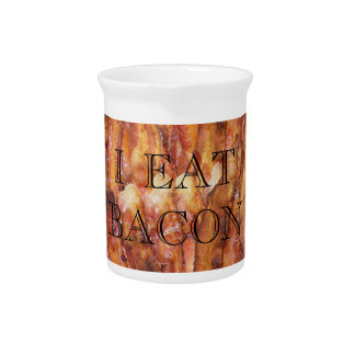 I Eat Bacon Text with Background Drink Pitcher