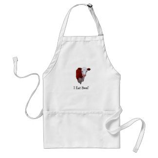 I Eat Beef: Hereford Cow: Painting, Original Art Apron