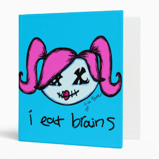 """i eat brains"" Cute Zombie 3 Ring Binder"