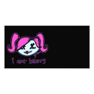 """i eat brains"" Cute Zombie (dark background) Card"