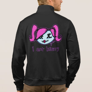"""i eat brains"" Cute Zombie (dark background) Printed Jackets"