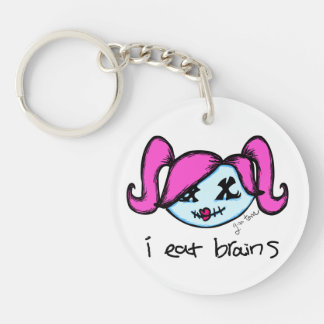 """i eat brains"" Cute Zombie Keychain"