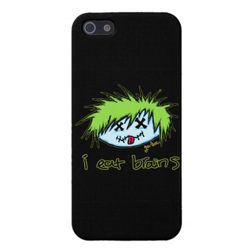 """""""i eat brains"""" Dude Zombie (on dark background) iPhone 5 Cover"""
