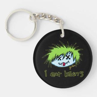 """""""i eat brains"""" Dude Zombie (on dark background) Single-Sided Round Acrylic Keychain"""