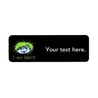 """i eat brains"" Dude Zombie (on dark background) Return Address Label"