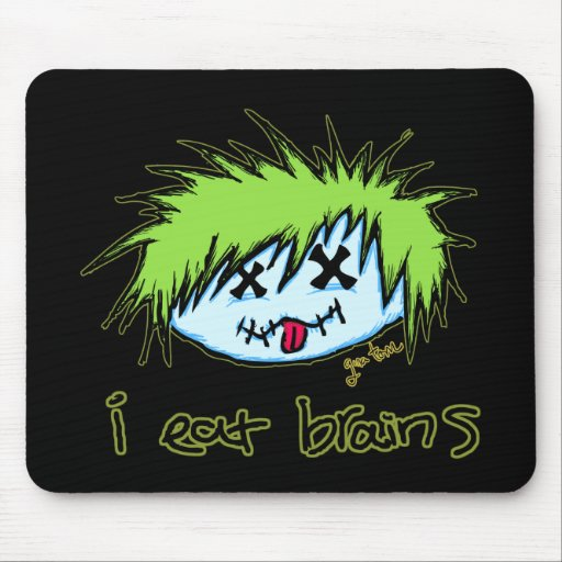 """""""i eat brains"""" Dude Zombie (on dark background) Mouse Pad"""