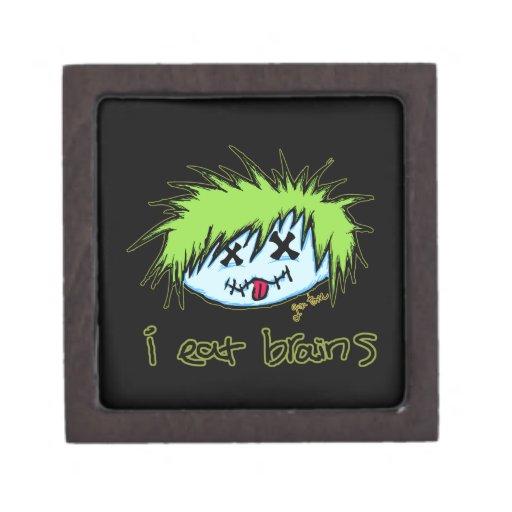 """i eat brains"" Dude Zombie (on dark background) Premium Trinket Boxes"