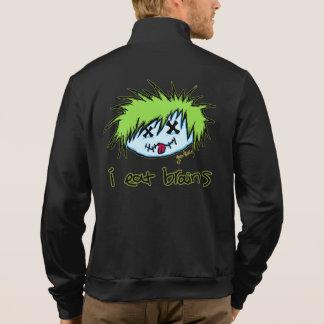 """i eat brains"" Dude Zombie (on dark background) Printed Jacket"