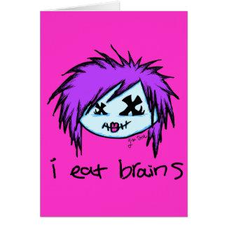 """i eat brains"" Scene Zombie Card"