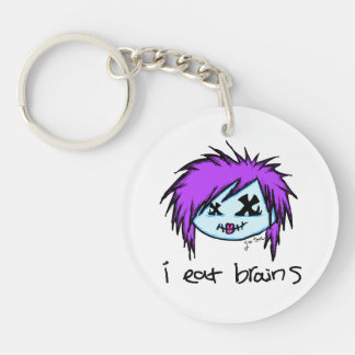 """i eat brains"" Scene Zombie Single-Sided Round Acrylic Keychain"