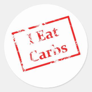 I Eat Carbs Grunge Stamp Classic Round Sticker
