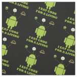 I Eat Code For A Living Android Black Background Fabric