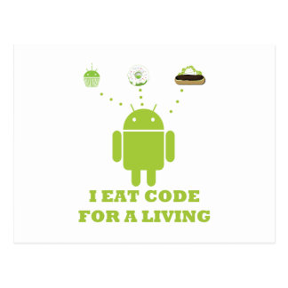 I Eat Code For A Living (Developer) Postcard