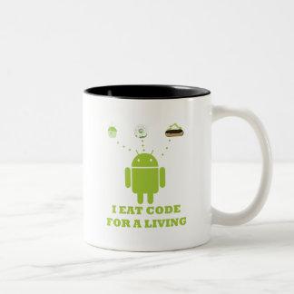I Eat Code For A Living (Developer) Two-Tone Coffee Mug