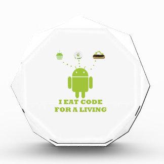 I Eat Code For A Living Software Developer Acrylic Award