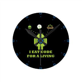 I Eat Code For A Living Software Developer Round Clocks