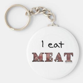 I eat meat basic round button keychain