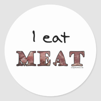 I eat meat classic round sticker