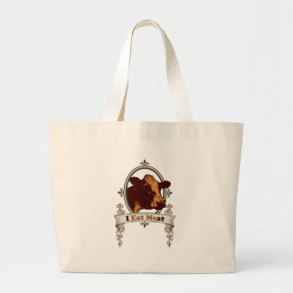I Eat Meat Cow Large Tote Bag