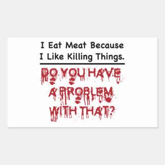 I eat meat rectangular sticker