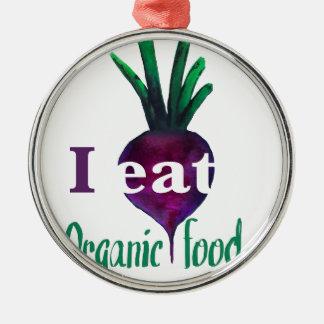 I Eat Organic Food Adorno Navideño Redondo De Metal