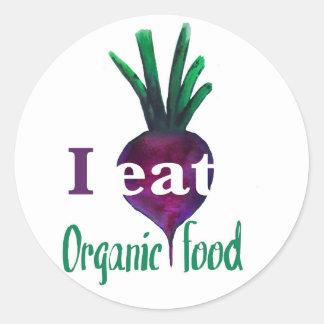 I Eat Organic Food Classic Round Sticker