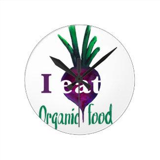 I Eat Organic Food Reloj Redondo Mediano