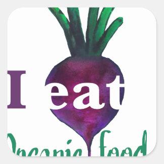 I Eat Organic Food Square Sticker