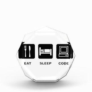 I eat, sleep and code acrylic award