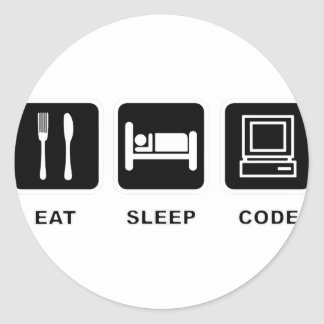 I eat, sleep and code classic round sticker