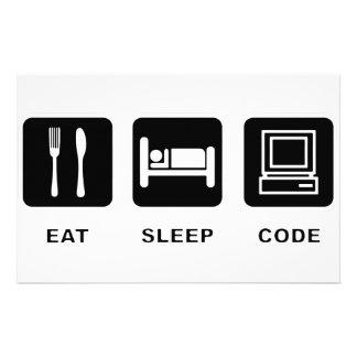 I eat, sleep and code customized stationery