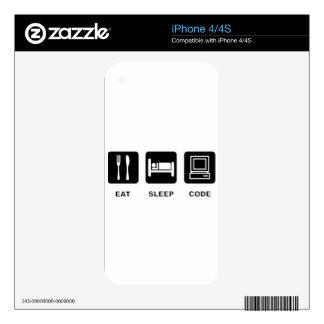 I eat, sleep and code iPhone 4 decals
