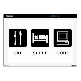 I eat, sleep and code laptop skin